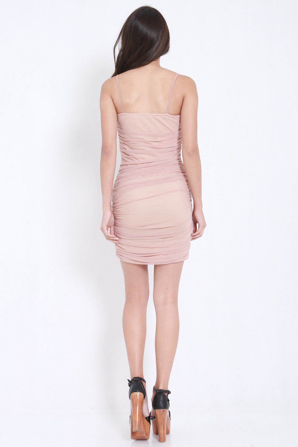 Mesh Bandage Dress (Nude) -  - 5