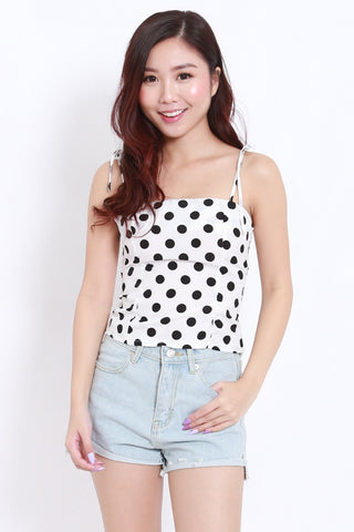 Mono Polka Ribbon Tie Top