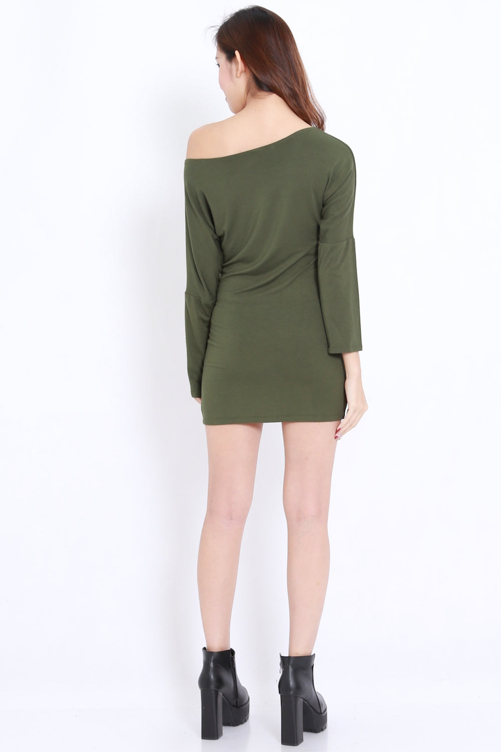 Off Shoulder Bandage Dress (Olive)