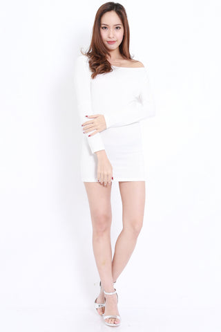 Off Shoulder Bandage Dress (White)