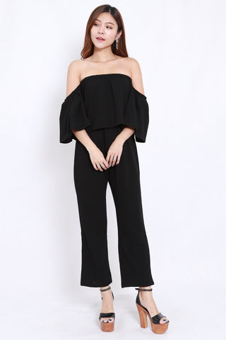 Off Shoulder Jumpsuit 2pcs Set (Black)