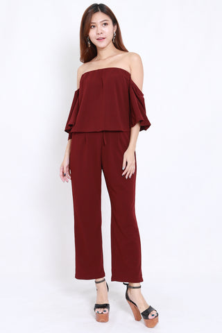 Off Shoulder Jumpsuit 2pcs Set (Maroon)