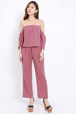 Off Shoulder Jumpsuit 2pcs Set (Mauve)