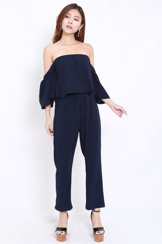 Off Shoulder Jumpsuit 2pcs Set (Navy)