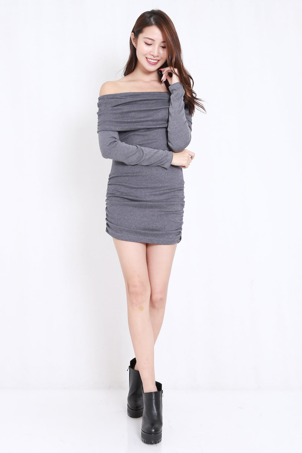Off Shoulder Ruched Dress (Grey)