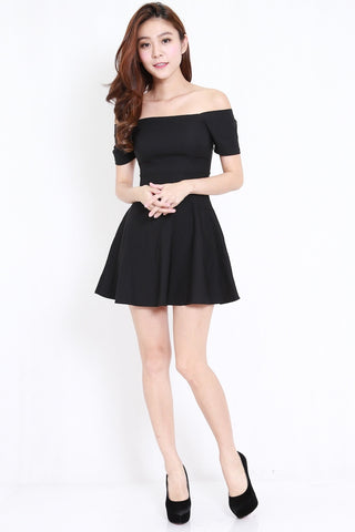 Off Shoulder Skater Dress (Black)