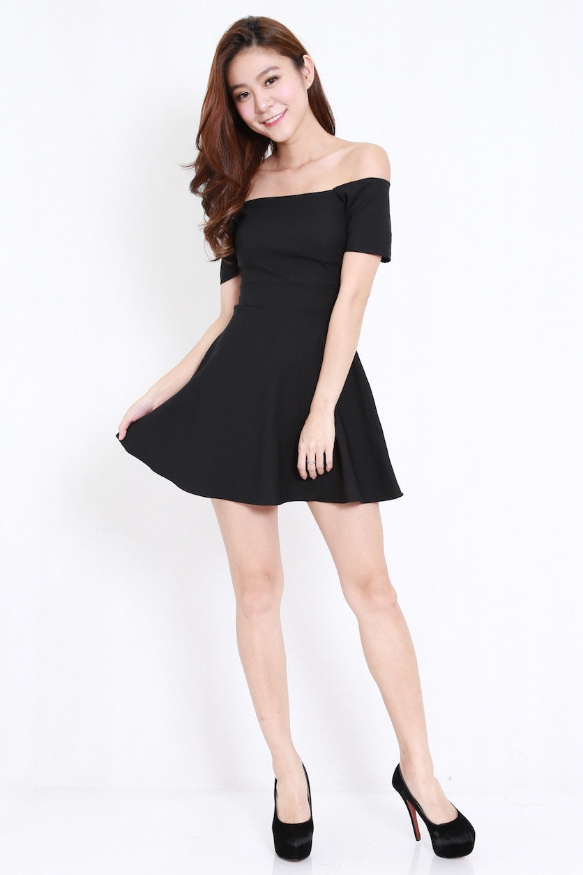 6f76ac044e Off Shoulder Skater Dress (Black) – Carrislabelle