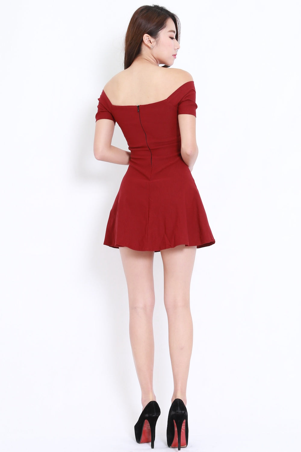 Off Shoulder Skater Dress (Maroon)