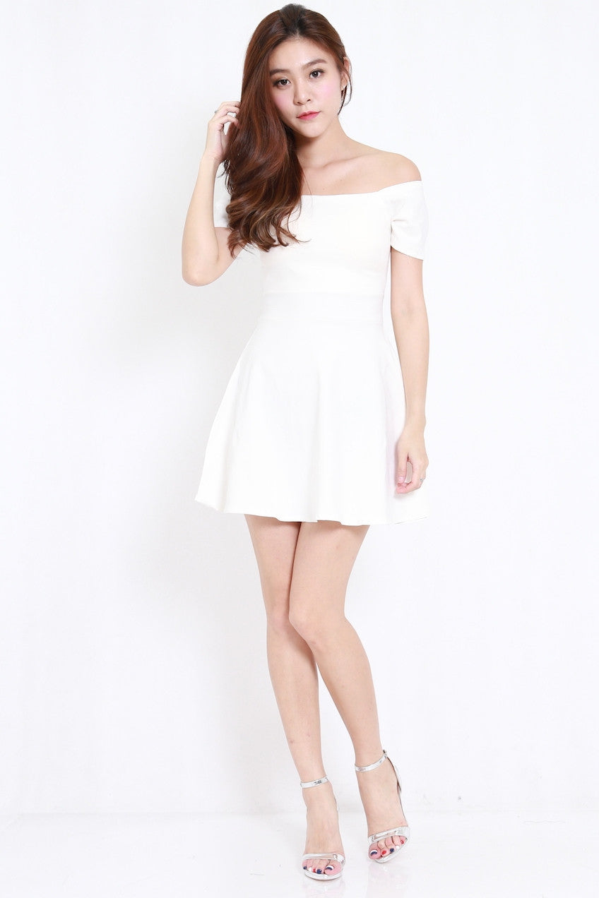 a81d6c13b62 Off Shoulder Skater Dress (White) – Carrislabelle