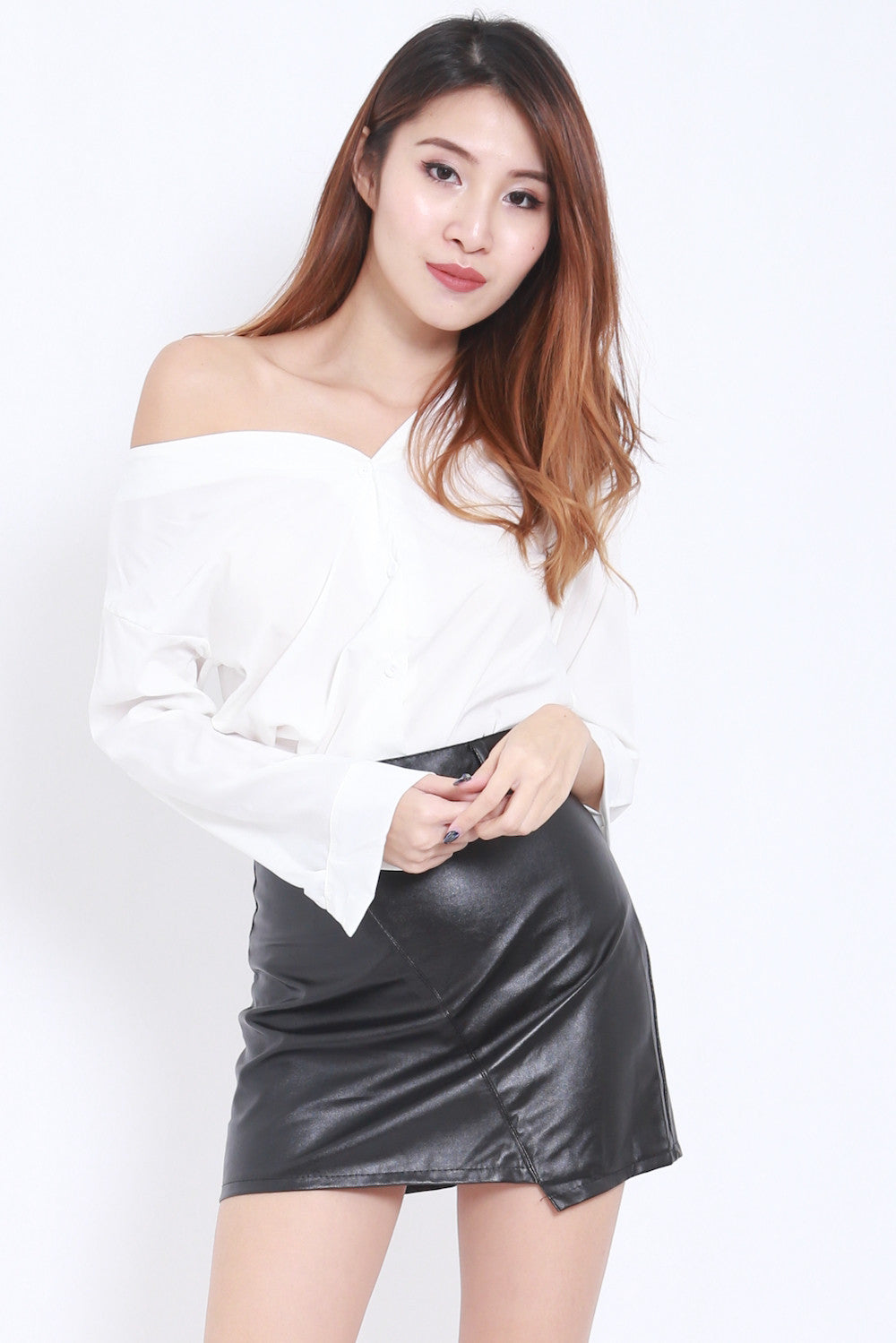Off Shoulder White Shirt -  - 1