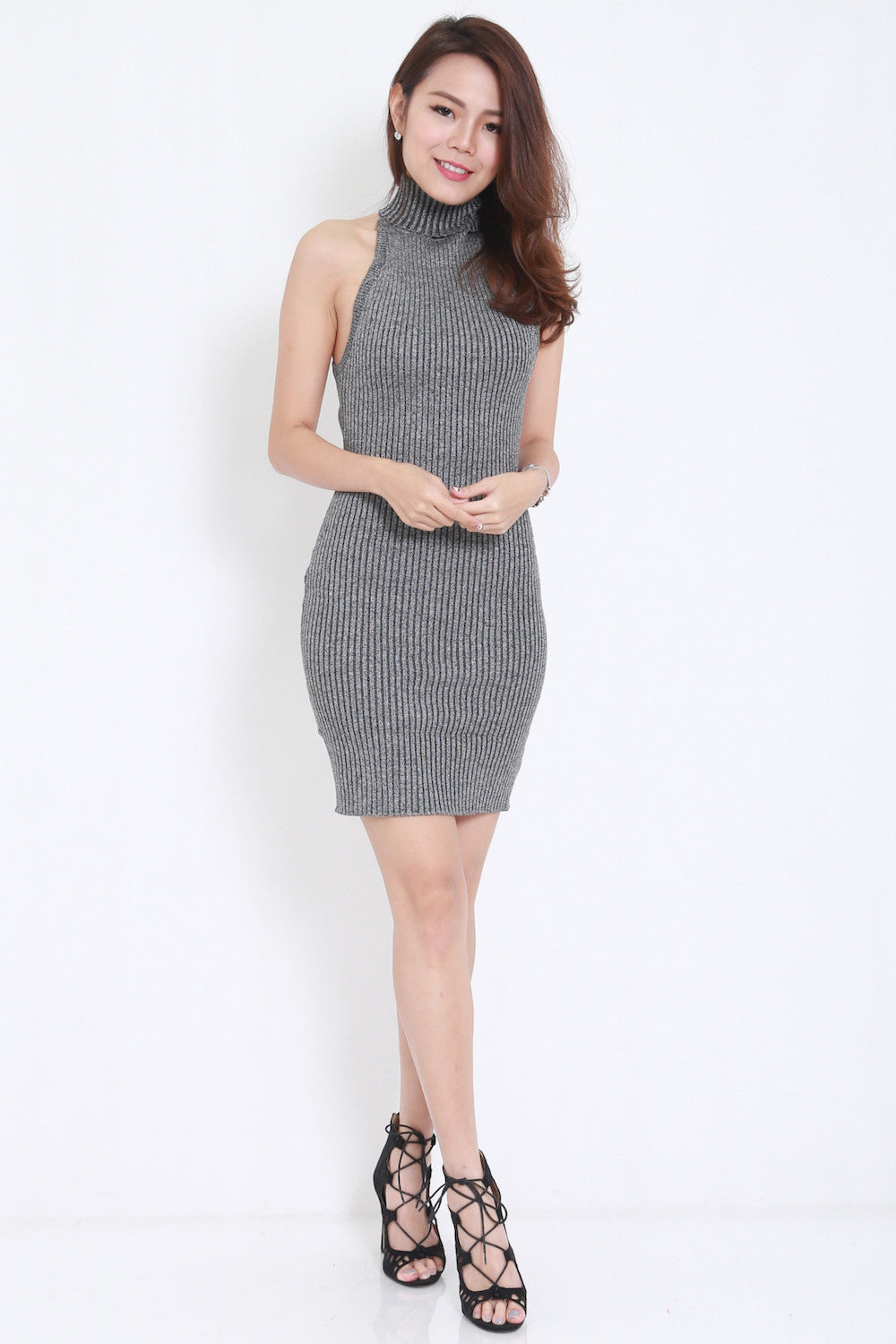 Open Back Knit Dress (Grey) -  - 1