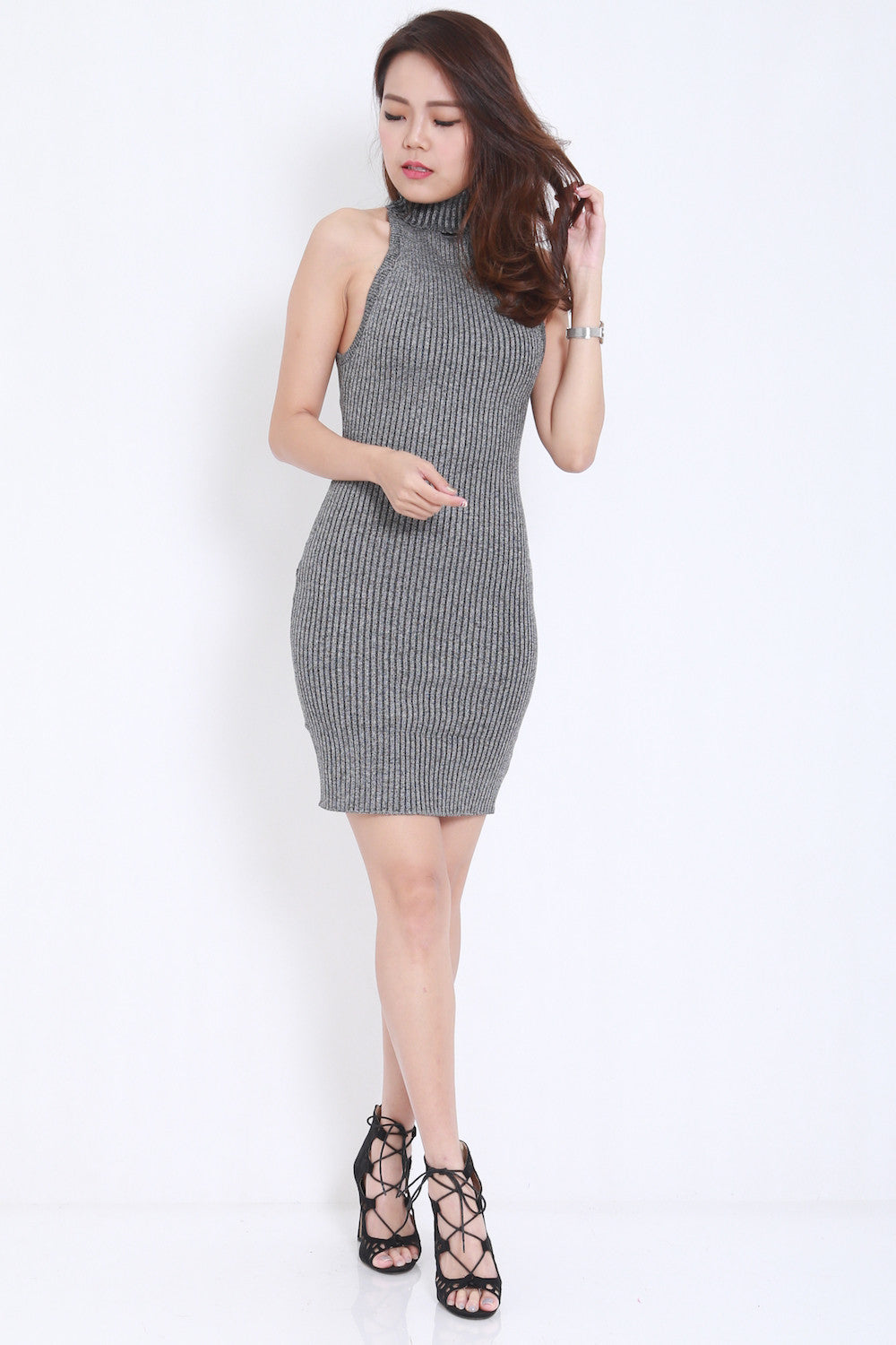 Open Back Knit Dress (Grey) -  - 3
