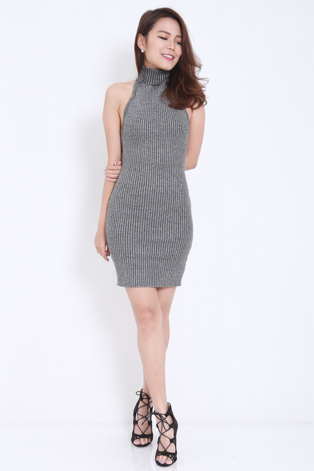 Open Back Knit Dress (Grey) -  - 4