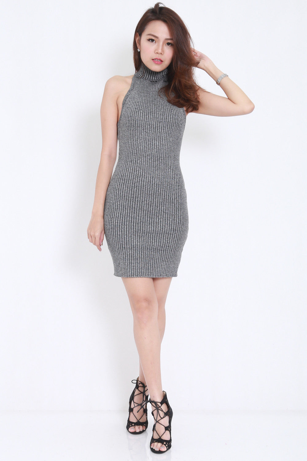 Open Back Knit Dress (Grey) -  - 5
