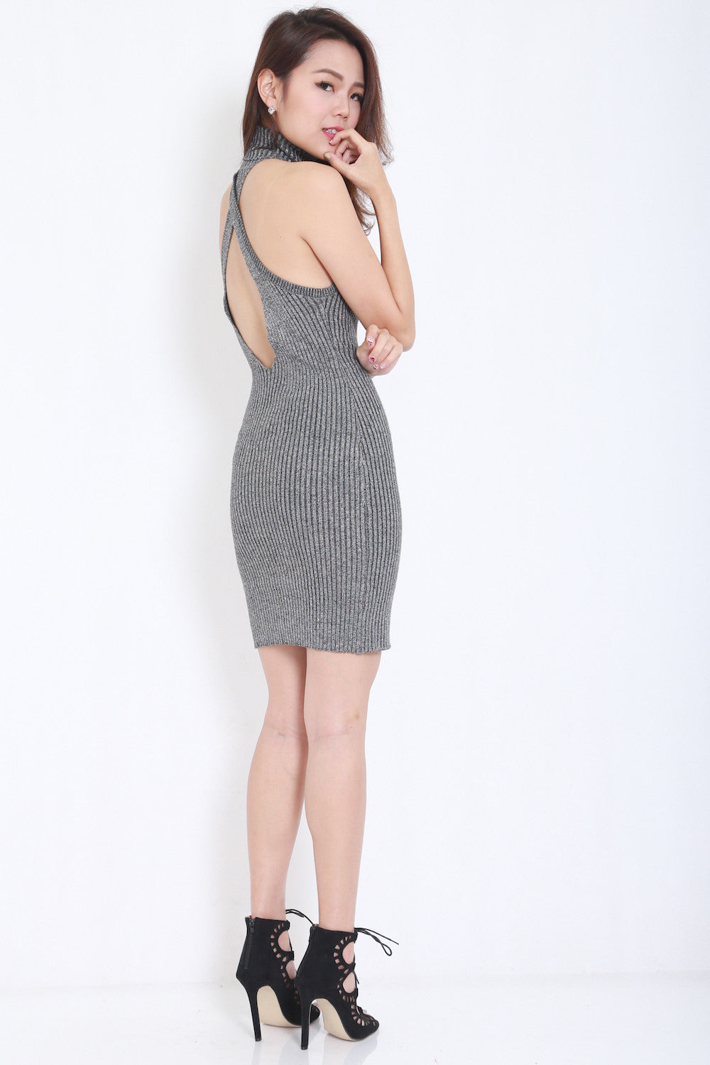 Open Back Knit Dress (Grey) -  - 2