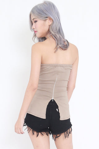 Open Back Sweetheart Tube (Taupe)