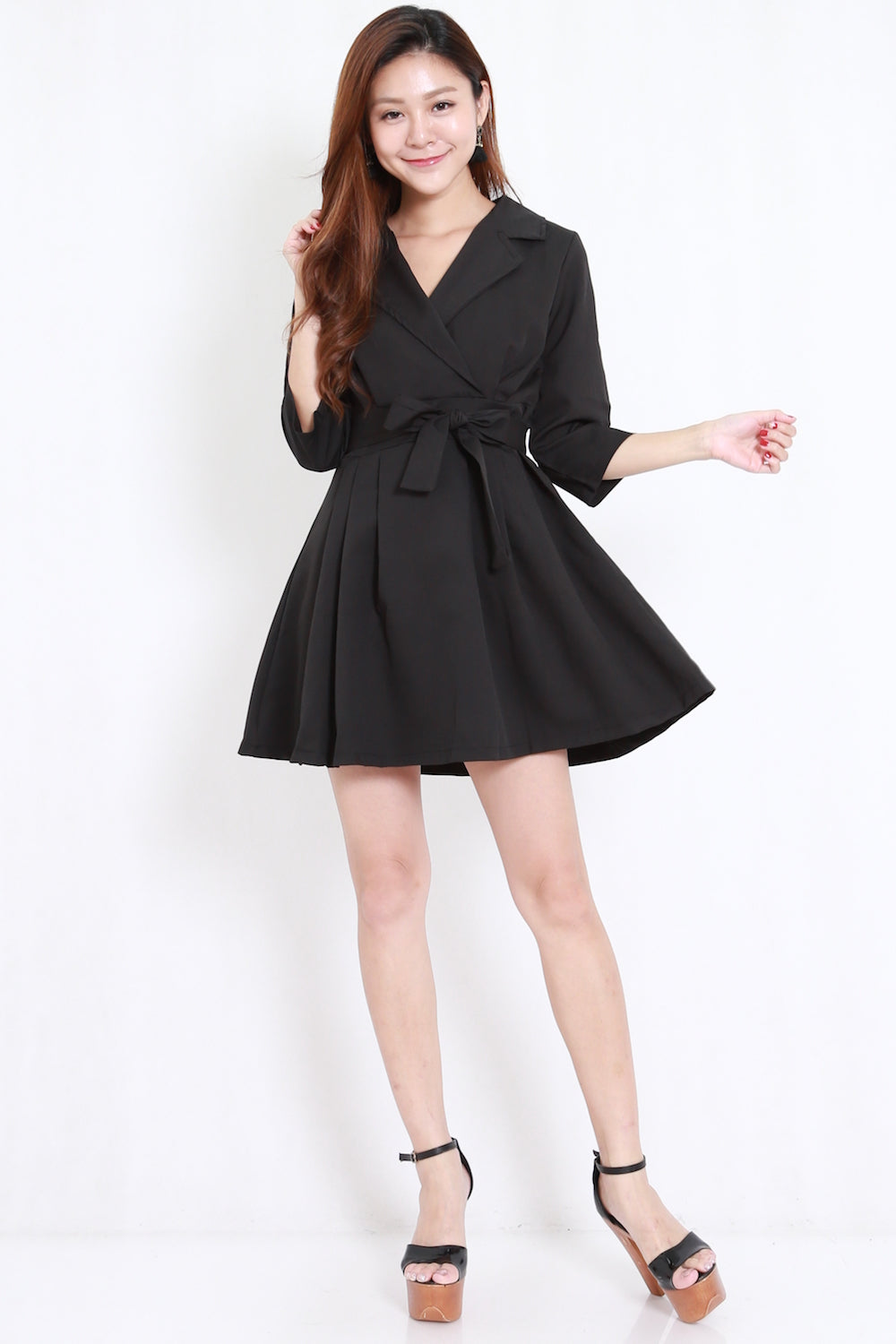 Overlap Collar Shirt Dress (Black)