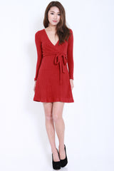 Overlap Knit Dress (Maroon) -  - 2