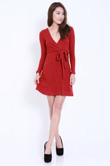 Overlap Knit Dress (Maroon) -  - 1
