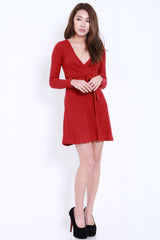 Overlap Knit Dress (Maroon) -  - 3