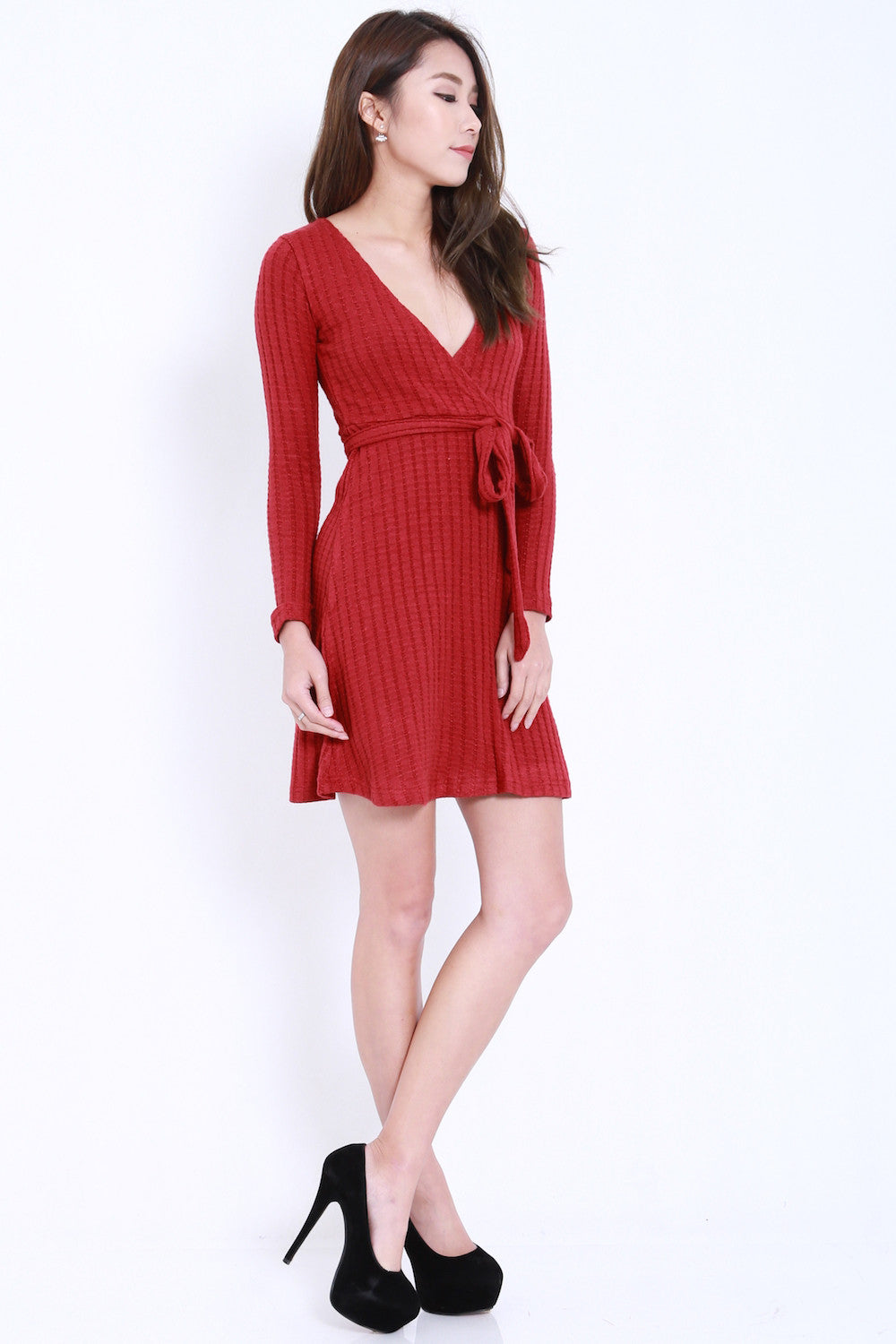Overlap Knit Dress (Maroon) -  - 4