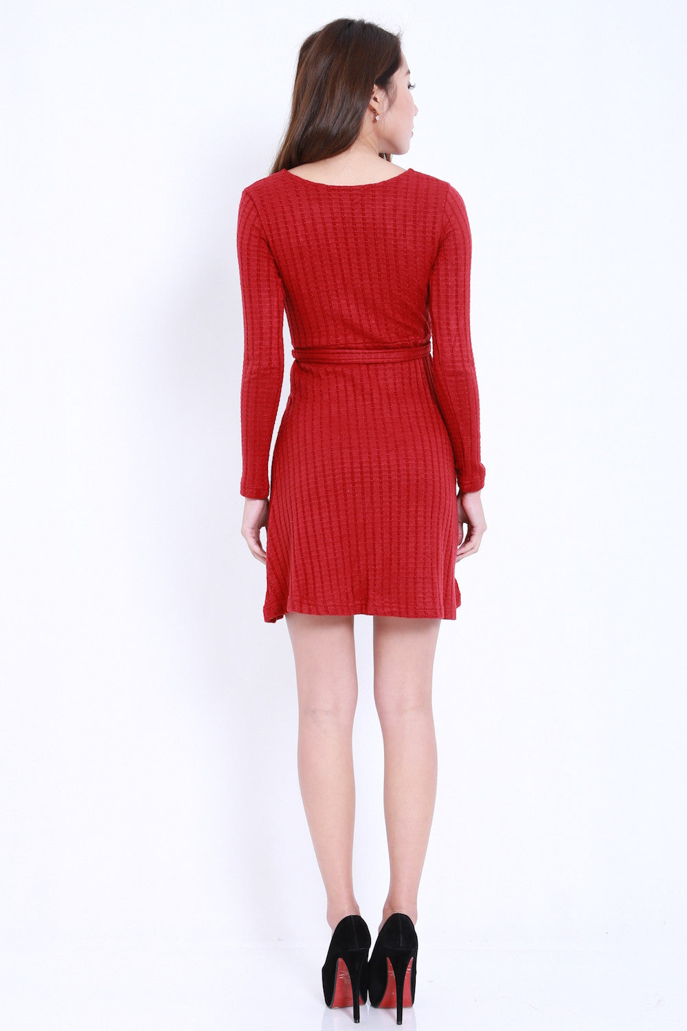 Overlap Knit Dress (Maroon) -  - 5