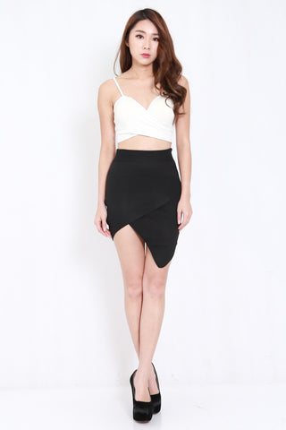Overlap Knit Skirt (Black)
