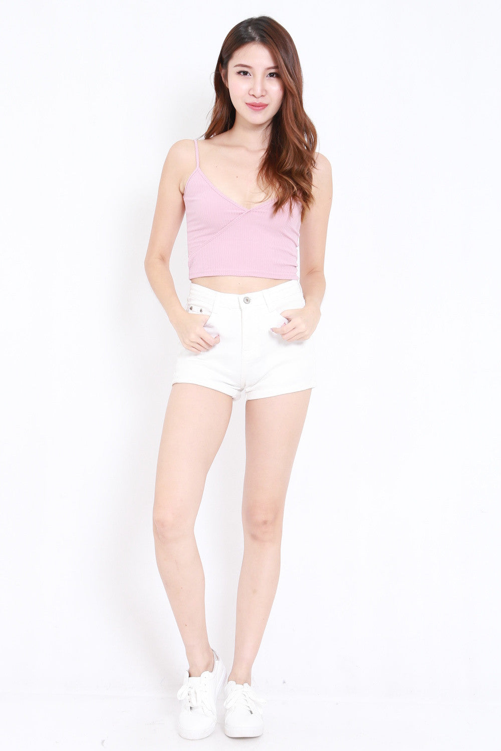 Overlap Ribbed Crop Top (Blush)