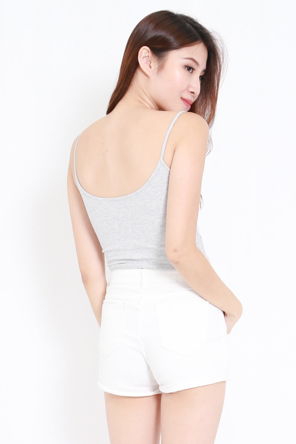 Overlap Ribbed Crop Top (Grey)
