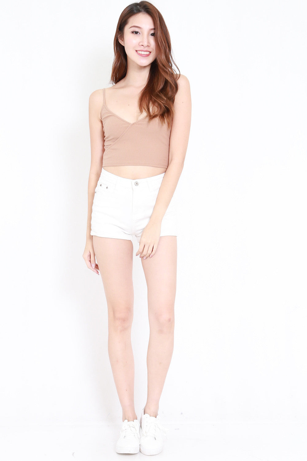 Overlap Ribbed Crop Top (Nude)