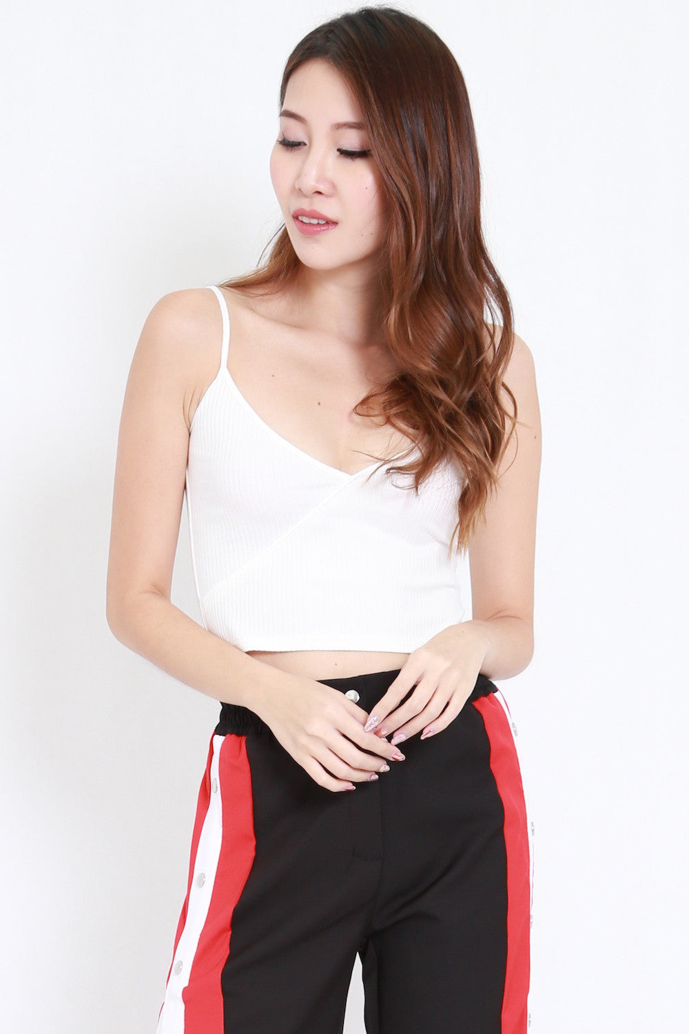 Overlap Ribbed Crop Top (White)