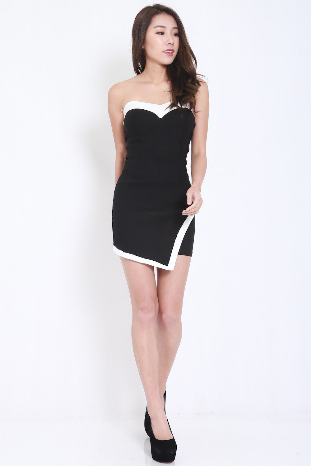 Overlap Sweetheart Dress (Black)