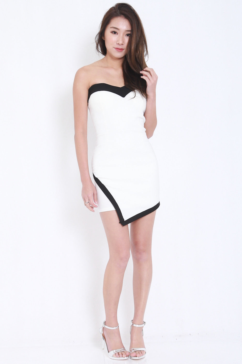 Overlap Sweetheart Dress (White) -  - 1