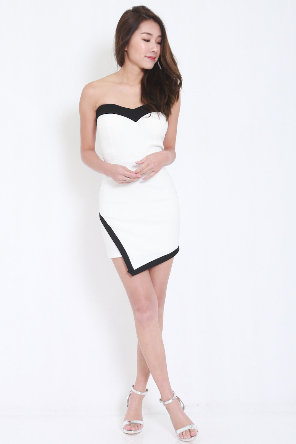 Overlap Sweetheart Dress (White) -  - 2