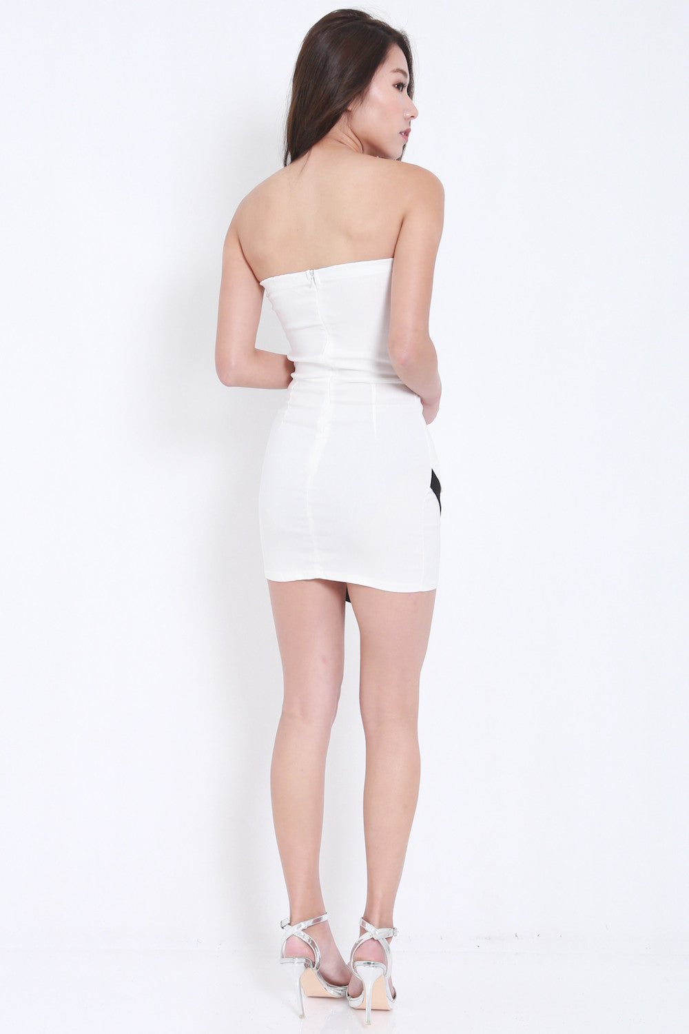Overlap Sweetheart Dress (White) -  - 5