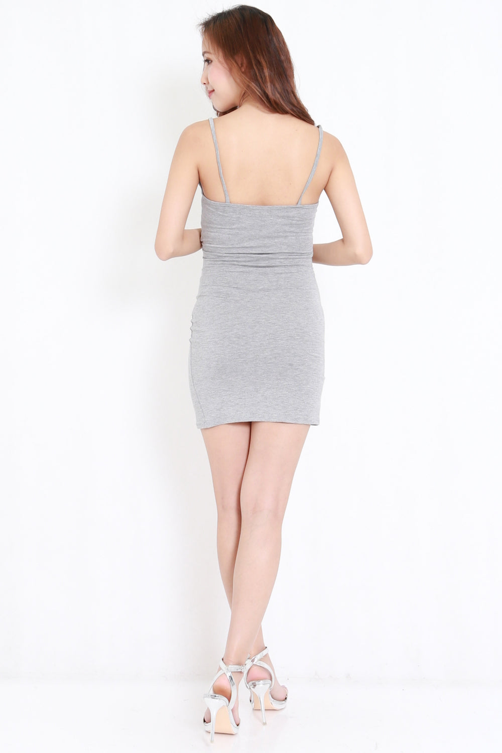 Overlap Wrap Spag Dress (Grey)