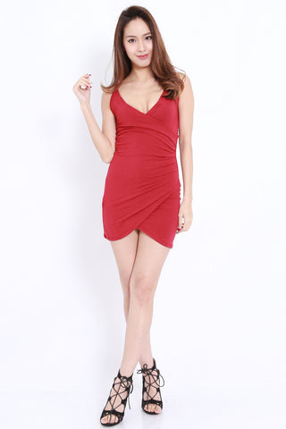 Overlap Wrap Spag Dress (Maroon)