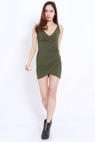 Overlap Wrap Spag Dress (Olive)