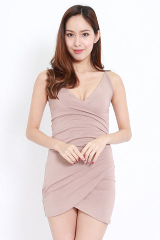 Overlap Wrap Spag Dress (Taupe)
