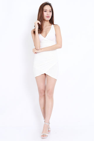 Overlap Wrap Spag Dress (White)