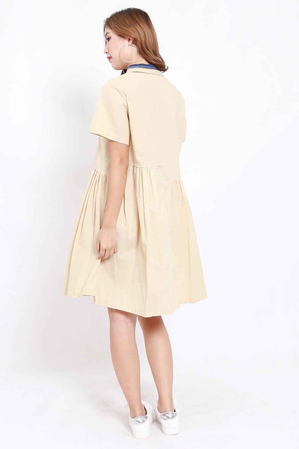 Oversize Collar Babydoll Dress (Cream)