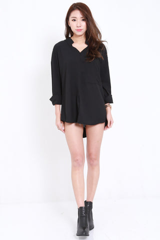 Oversized Collar V Shirt (Black)