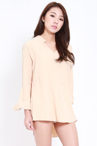 Oversized Collar V Shirt (Nude)