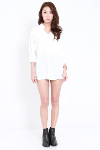 Oversized Collar V Shirt (White)