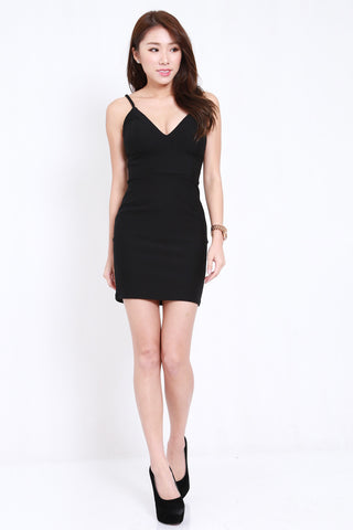 *PREMIUM* Cross Back V Spag Dress (Black)