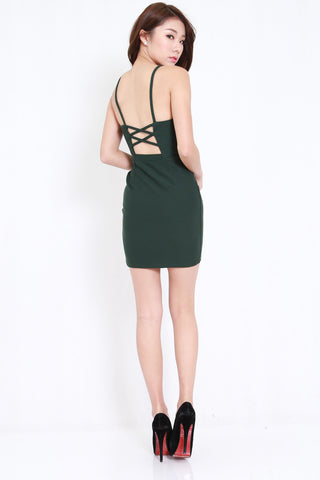 *PREMIUM* Cross Back V Spag Dress (Forest)