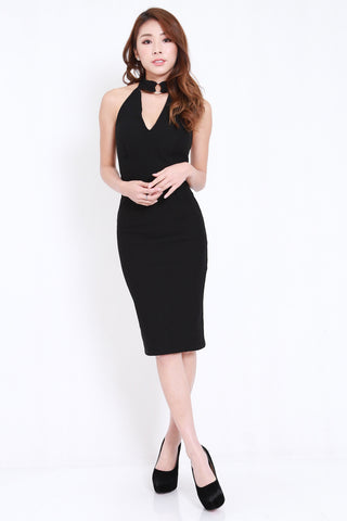 *PREMIUM* Ring Choker Midi Dress (Black)