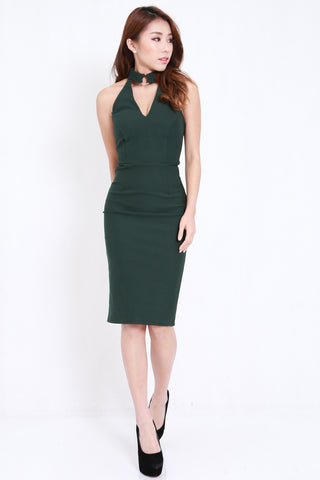 *PREMIUM* Ring Choker Midi Dress (Forest)