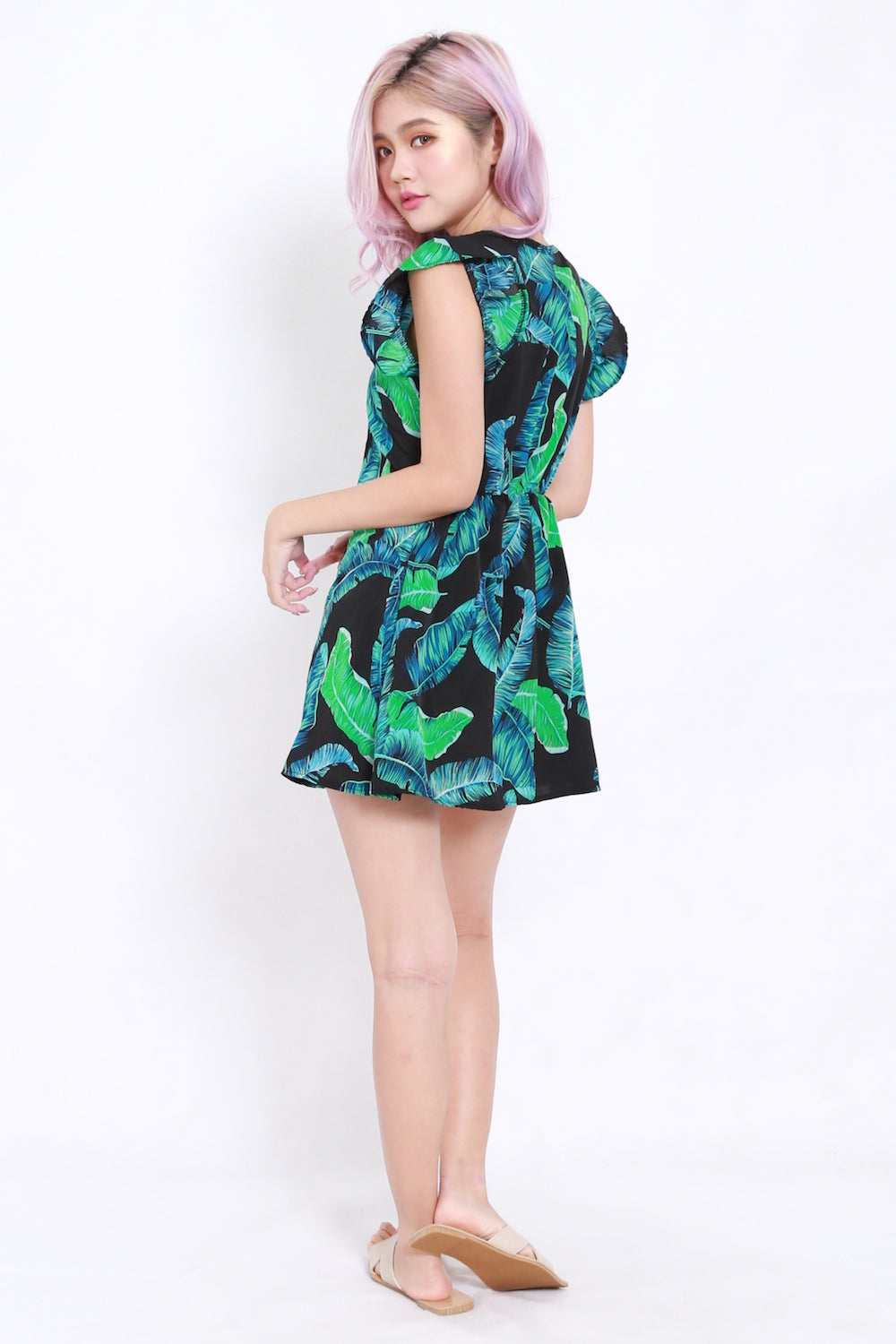 Palm Leaves Button Dress (Black)