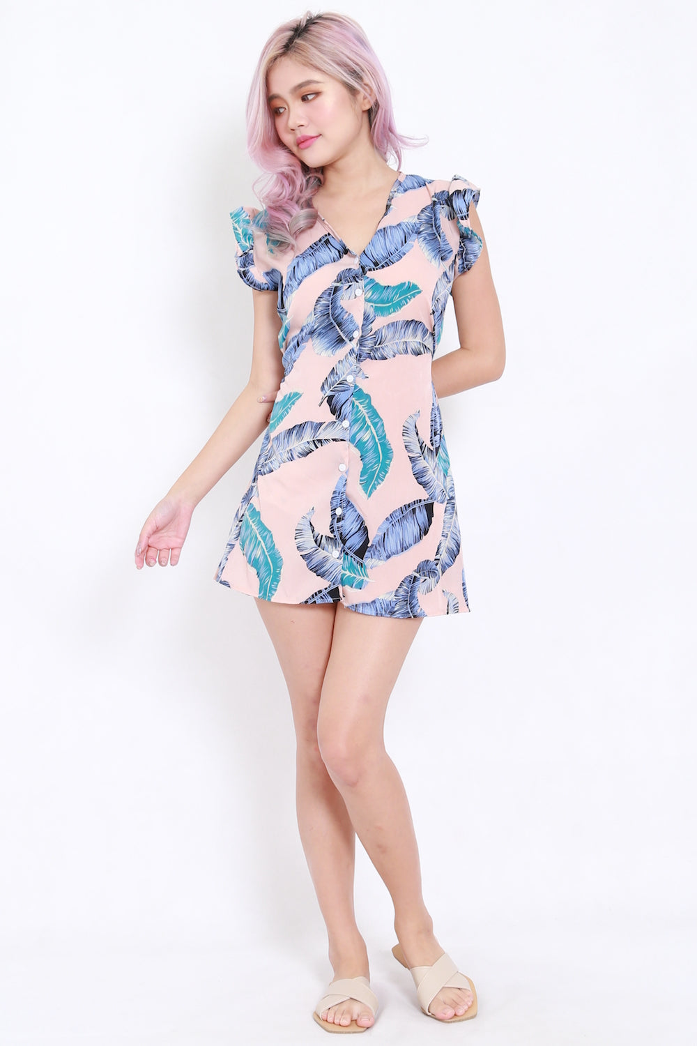 Palm Leaves Button Dress (Pink)